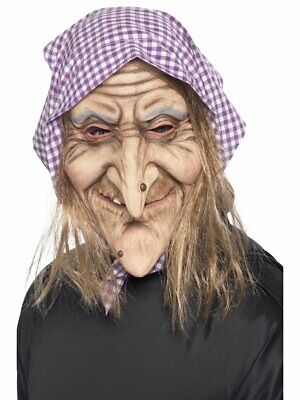 Smiffys Old Lady Witch Headscarf Hair Mask Halloween Costume Accessory 37194
