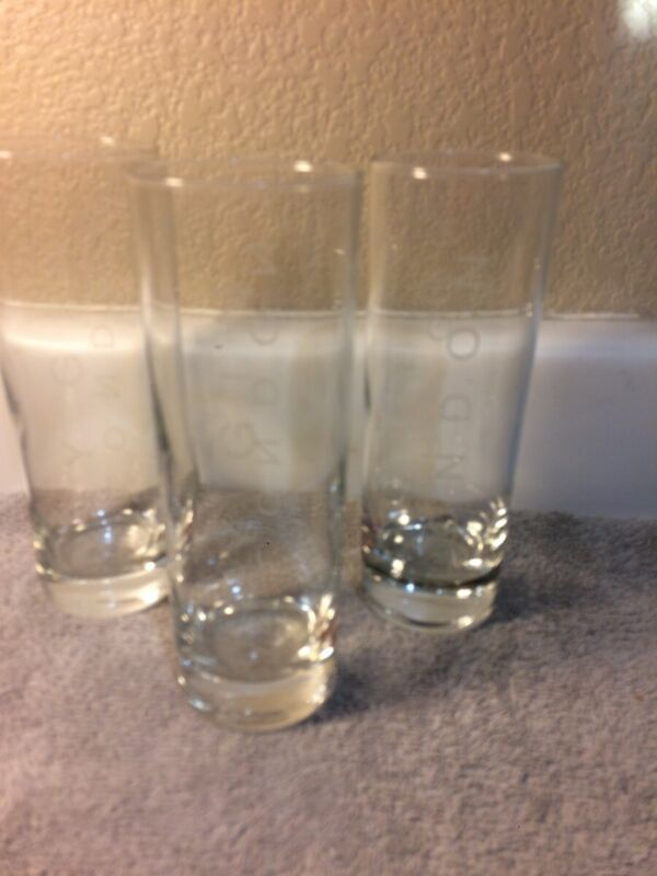 (3)  BEEFEATER  LONDON DRY GIN GLASSES--TALL / SLENDER----FREE SHIP--VGC