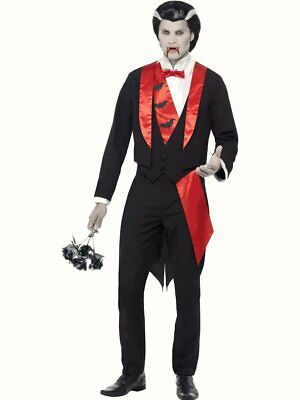 Mens Count Dracula Leading Vampire Fancy Dress Costume Adults Halloween Outfit
