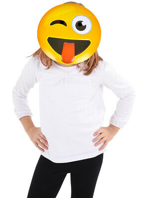 Texting Emoticon Emoji Tongue Stuck Out Face Mask Costume Accessory](Halloween Emoji Text)