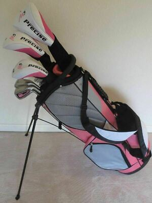 NEW Petite Ladies Deluxe Golf Club Set Driver Wood Hybrid Irons Putter Stand Bag
