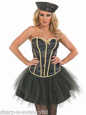 Ladies Army Girl Tutu Military Uniform Fancy Dress Costume Outfit 8-26 Plus Size (Army Girl Kostüm Plus Size)