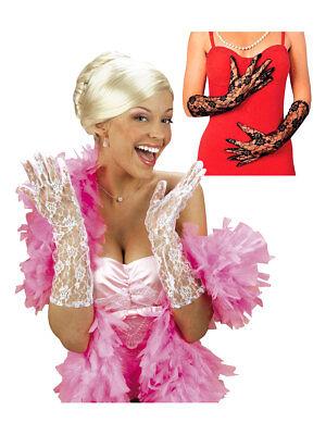 Paar Spitzen-Handschuhe Lang Fasching Karneval Accessoire