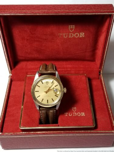 Vintage Jumbo Rolex Tudor 7019/3 Oyster Prince Day Date Gold Steel Watch w Box - watch picture 1