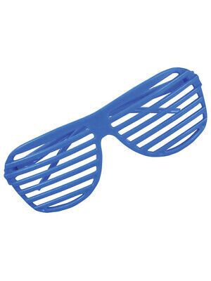 80's Neon Blue Shutter Shade Toy Sunglasses Party Favors Costume Accessory