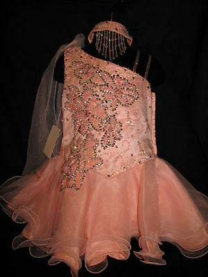 Unique Fashions UF408 Light Coral Girls Short Pageant Dress sz 3](Unique Girl Dresses)