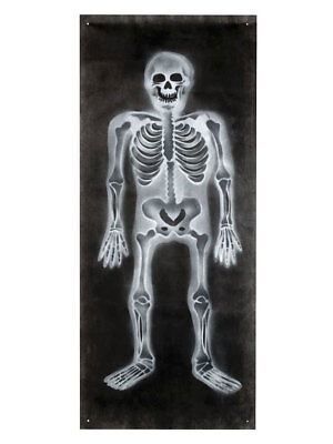 Halloween Banner Skelett 75x185cm Deko Grabstätte Gruft ()