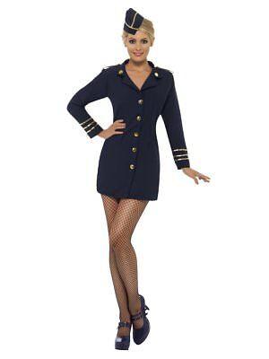 Smiffys Flugbegleiterin Marineblau Stewardess Damen Halloween Kostüm 28879