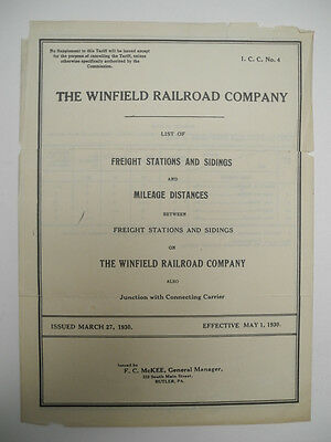 1930 Winfield Railroad New York List of Freight Stations, Sidings and Mileage