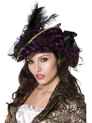 Womens Caribbean Pirate Captain Purple Hat With Feathers Costume Accessory - Purple Pirate Hat