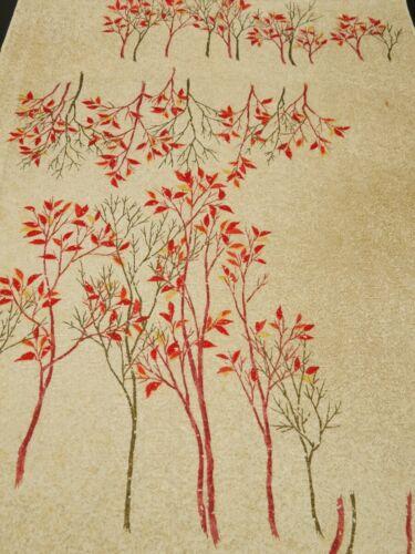 """2K03z90 Japanese Kimono Silk  FABRIC Off-white Trees 66.1"""""""