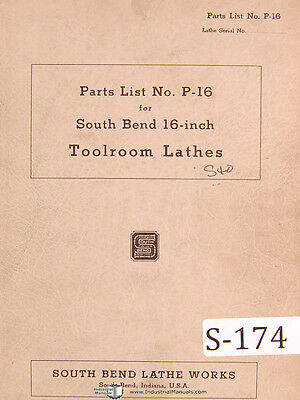 South Bend Lathe Works 16 P-16 Parts Lists Bench Lathe Manual 1943