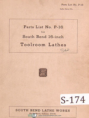 South Bend Lathe Works 16 P-16 Parts Lists Bench Lathe Manual 1943
