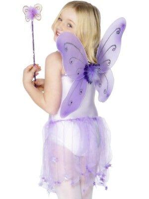 Lila Schmetterlingsflügel + Zauberstab Fee Mädchen Glitzer Kostüm - Lila Schmetterling Kostüm Flügel