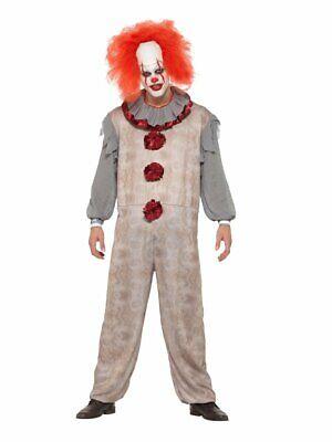Psycho Killer Halloween Costumes (Mens Psycho Clown Costume Vintage Look Killer Full Jumpsuit Halloween Adult)