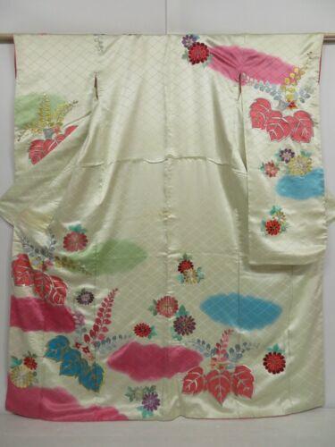 1020i05z1150 Vintage Japanese Kimono Silk FURISODE Lime-White Paulownia