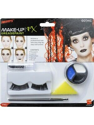 Halloween Doll Make Up (Halloween Make Up Face Paint Kit Black Gothic Doll Fancy Dress Costume)