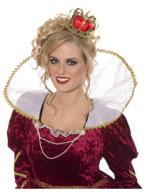 New Renaissance Princess Queen Red Gold Royal Mini Crown