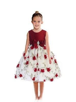 Posh Red/White Floral Embroidered Flower Girl Holiday Dress, Crayon Kids USA - Classy Holiday Dresses
