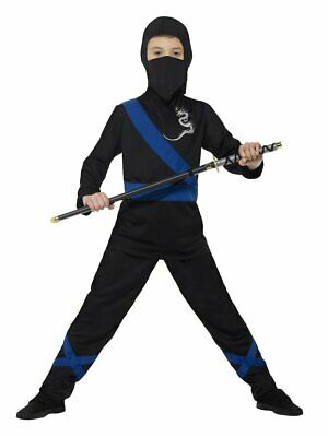Boys Ninja Costume Black Blue Halloween Costume Warrior Samurai Kids Child S M L - Samurai Warrior Halloween Costume