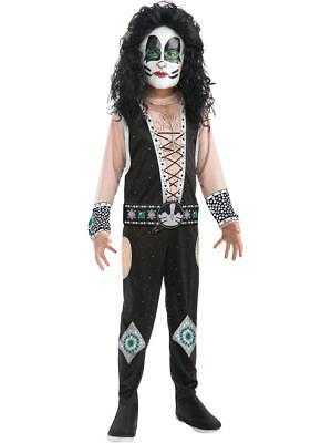 Catman KISS Peter Criss Boy's Rock Star Jumpsuit Halloween Costume NEW w/Defect