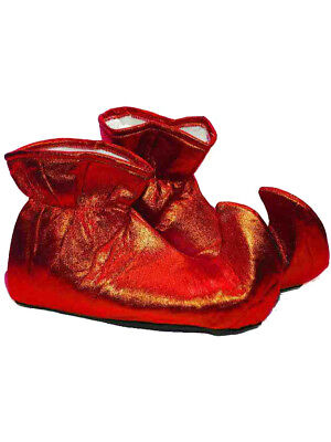 Adult Santa Helper Elf Christmas Costume Red Shoe Boots - Santa Costume Boots