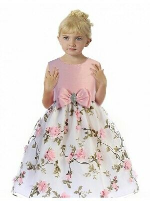 Posh Pink/White Floral Embroidered Flower Girl Holiday Dress, Crayon Kids USA - Classy Holiday Dresses