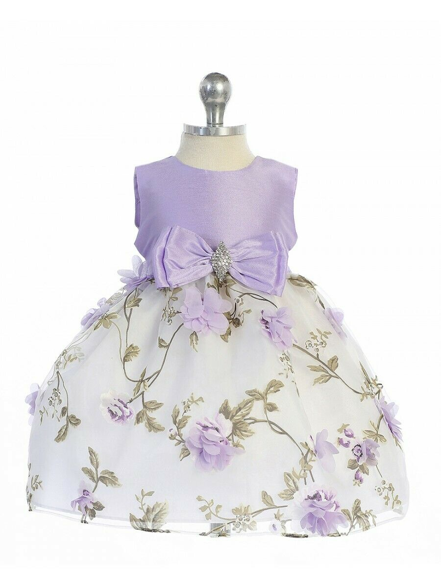 8b5ce96a02bc Posh Lilac/White Floral Embroidered Flower Girl Holiday Dress ...