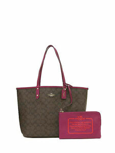 aedb0722b421 Coach 2 in 1 Signature Reversible City Tote Brown Fuchsia F36658 for ...