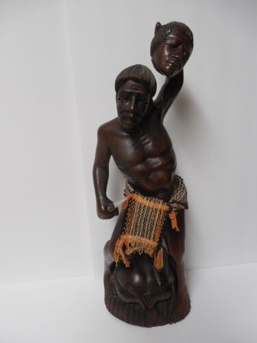 """Vintage Hand Carved Wooden Headhunter Statue Igorot Tribe Philippines 21,5"""""""
