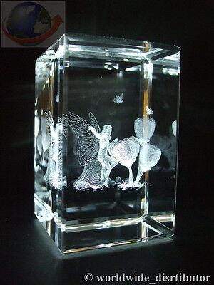 LASER CRYSTAL PAPERWEIGHT TULIP FLOWER FAIRY 3611 PRESENTATION BOXED
