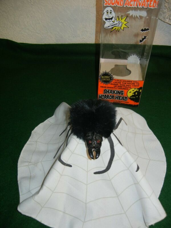 SHAKING HORROR HEAD * SPIDER * TELCO 1990 LIGHTED / SOUND ACTIVATED * RARE *