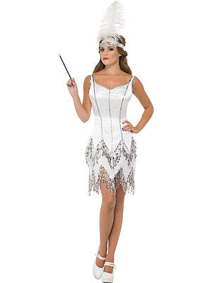 Adult Sexy 20s White Gatsby Jazz Flapper Costume ](Jazz Flapper Costume)