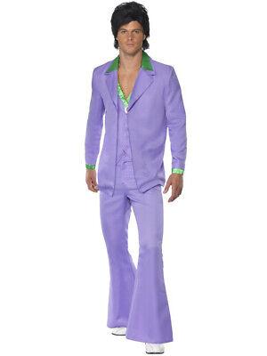 Disco Suit Costume (Mens Classic 70s Lavender Pimp Groovy Disco Dude Suit)