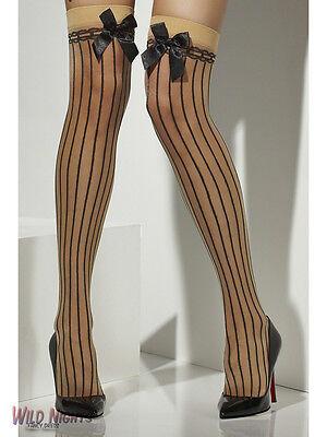 FANCY DRESS ACCESORY # LADIES KNEE HIGH STOCKINGS NUDE & BLACK