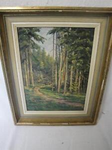 schönes Gemälde einer Waldlichtung signiert