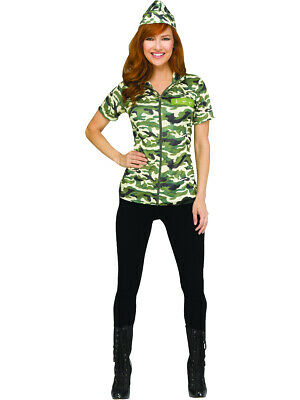 Adult's Womens Army Shirt and Hat Costume