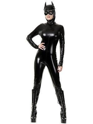 Womens Sexy Wet Look PVC Black Cat Suit Vinyl Dominatrix Costume (Black Cat Womens Costume)