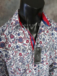 Mens Long Sleeve Sport Shirt Red White Blue Floral Pattern