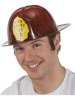 Adult's Brushed Red Fireman Firefighter Chief Hat Costume Accessory](Red Fireman Costume)
