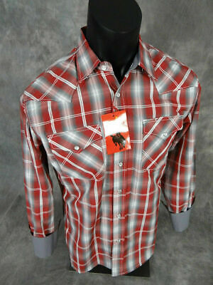 Mens RODEO Brand Western Shirt Red Shades White Plaid with Triple Snap Cuffs 09