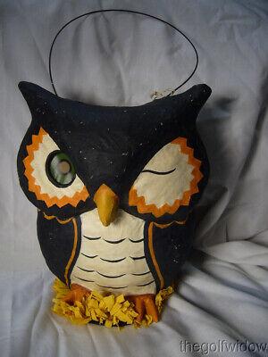 Bethany Lowe Owl Paper Mache Bucket