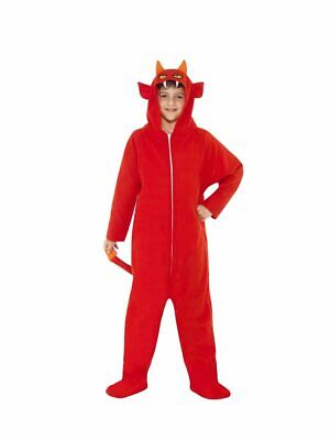 Boys Devil Costume Zipper Front Hooded Red Jumpsuit Halloween Kids Child S M L (Devil Costume For Boys)