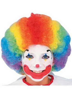 Child Adult Multi-Color Rainbow Striped Clown Afro Wig - Kids Clown Wigs