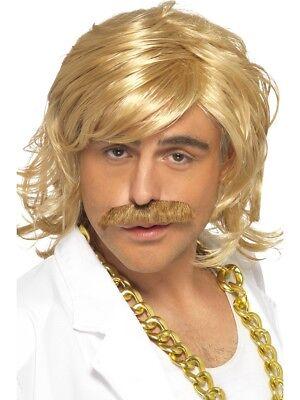 Blonde Men Game Show Host Kit, Wig & Tash - Fancy Dress Kit Costume Keith - Game Show Host Halloween Costume