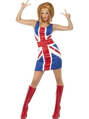Ladies 90s Ginger Power Spice Girl Costume Fancy Dress Small 8-10