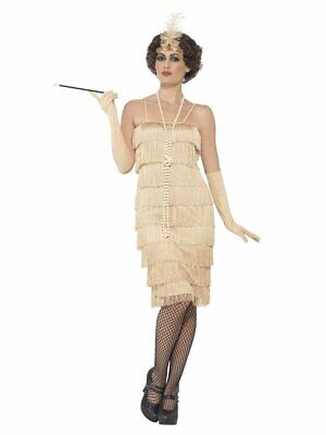 Womens Gold Flapper Costume Roaring 20s Fringe Dress Adult Halloween M L XXL NEW