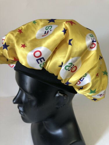Order of the Eastern Star OES Sleep Bonnet Cap-Yellow- Size Large-New!