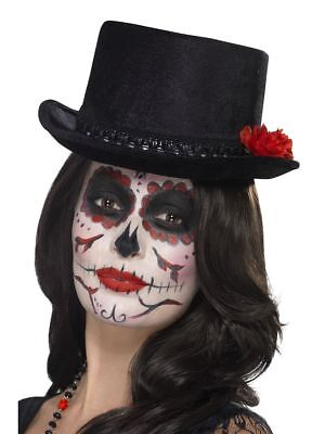 Ladies Day Of The Dead Topper Hat & Rose Halloween Horror Hen Night Fun Theme Do