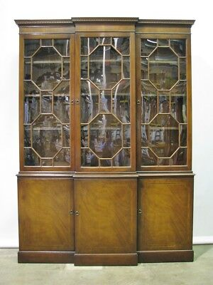 Vintage 1950's  Baker Furniture Mahogany Breadfront; Bubble Glass w/Inlay